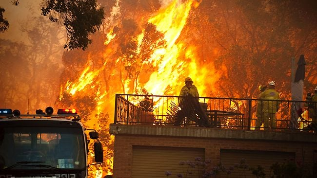 Bushfire near a house