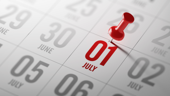 Calendar with July 1st highlighted